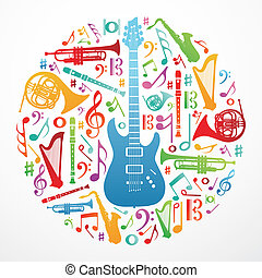 Love for music concept illustration background -...