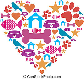Love for pets icon collection - Heart shape made with pets ...