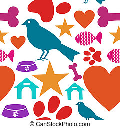 Love for pets icon seamless pattern