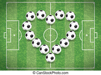 Love for Soccer - Football Field with Heart of Balls, vector...