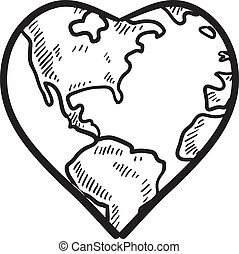 Doodle style Valentine's Day romantic heart with world map wrapped around it in vector format