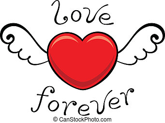 love forever - red heart with wings