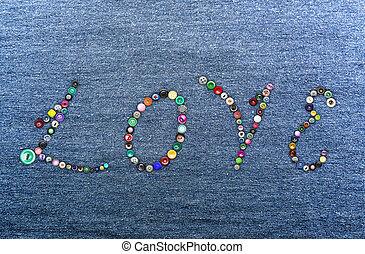 'love', former, mot, coloré, boutons