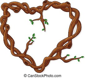 Love frame made from tree branches