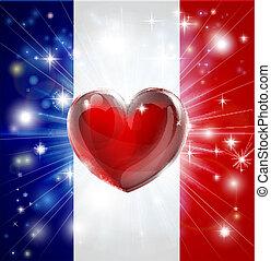 Love France flag heart background