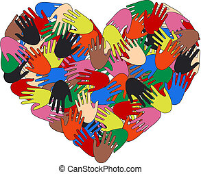 love freedom - a heart full of colorful hands