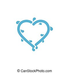 love fresh water splash symbol vector