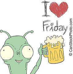 love Friday alien draw