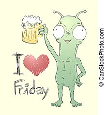 love friday message alien