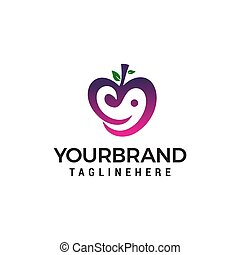 love fruit logo design concept template vector