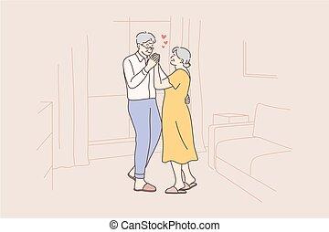 Love, fun, date, couple, dance concept
