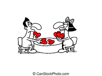 Love Gamble - Vectorel conceptual humorous cartoon about...