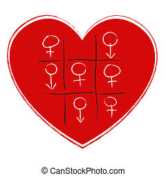 Love Game - illustration of tic tac toe game with sex symbol...