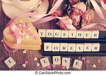 love game in vintage style - love words made of scrabble...