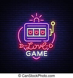 Love Game neon sign vector. Casino Slot Machines Logo in the neon style, gambling symbol, light banner, bright neon night advertisement for casinos and gambling. Design template