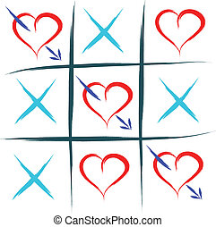 love game - tic tac toe with hearts love win