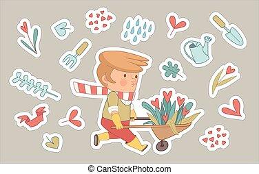 Love Gardener stickers set, Dodo people collection