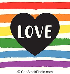 Love Gay pride emblem with hand written lettering