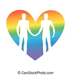 love., gay, vecteur, prise, lgbt, ensemble, types, hands., illustration, heart., forever.