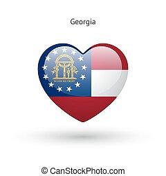 Love Georgia state symbol. Heart flag icon.