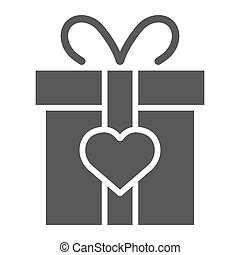 Love gift box glyph icon, valentine and holiday, love present sign, vector graphics, a solid pattern on a white background, eps 10.