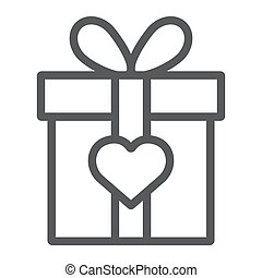Love gift box line icon, valentine and holiday, love present sign, vector graphics, a linear pattern on a white background, eps 10.