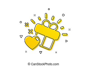Love gift icon. Heart present sign. Vector