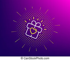 Love gift line icon. Heart present box sign. Dating profile. Vector