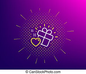 Love gift line icon. Heart present sign. Vector