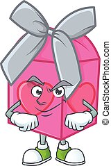 Love gift pink mascot cartoon character style with Smirking face