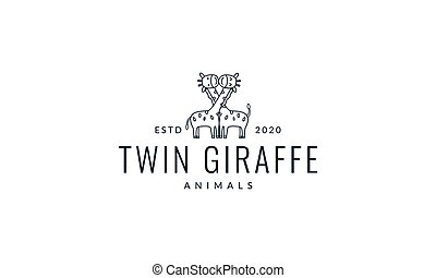 love giraffe line happy cute cartoon logo vector  illustration