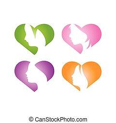Love girl logo icon design template vector illustration