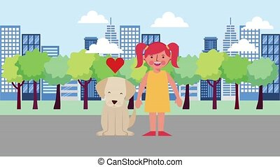 love girl with his dog in the city road