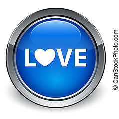 Love glossy blue button