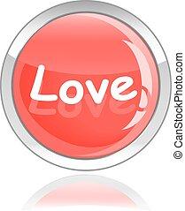 love glossy icon button