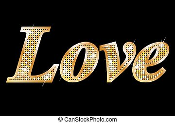 LOVE, gold letters