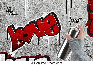 Love graffiti on concrete wall