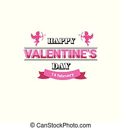 love greeting card happy valentines day holiday concept pink amour cupid postcard isolated flat