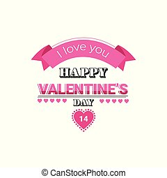 love greeting card happy valentines day holiday concept pink heart shape postcard isolated flat