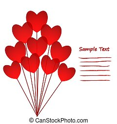 Love Greeting Card with red Hearts Balloons, stock vector illustration