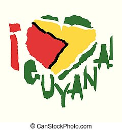 Love Guyana, America. Vintage national flag in silhouette of heart Torn paper grunge texture style. Independence day background. Good idea for retro badge, banner, T-shirt graphic design.