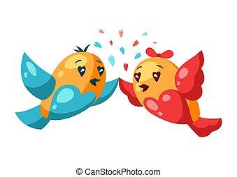love., hälsning, fåglar, card., dag, par, söt, valentinbrev