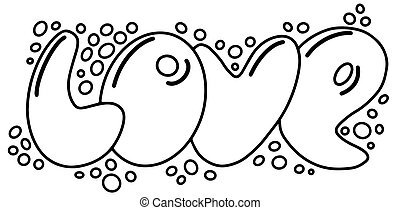 Love hand drawn illustration with bubbles