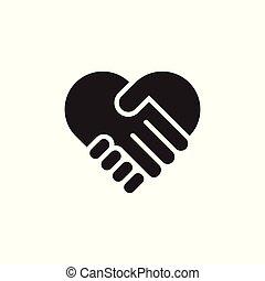 love hand shake deal symbol geometric vector