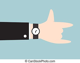 love hand sign, i love you hand, flat design, businessman concept