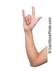 Love hand sign isolated on white background with clipping path