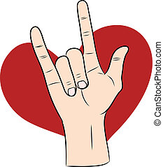 love hand sign with red heart