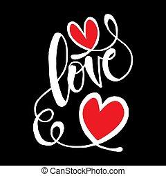Love hand written lettering with heart shape