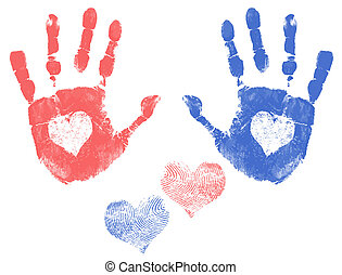 Love handprints - Male and female handprint with a heart. ...