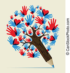 Love hands concept pencil tree